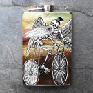 Stainless Steel Flask - 8oz., Day of the Dead Man on Bike Light Colored Background