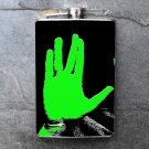 Stainless Steel Flask - 8oz., Star Trek Hand Print in Green