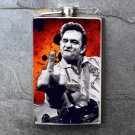 Stainless Steel Flask - 8oz., Johnny Cash Print on Red Background