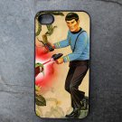 Star Trek Spock with Gun on Colorful Print Background Decorated iPhone 4,5,6 or 6plus Case