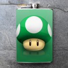 Stainless Steel Flask - 8oz., Mario Bros 1up Mushroom Print