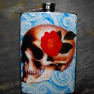 Stainless Steel Flask - 8oz., Skull with Flower on Blue Print Background
