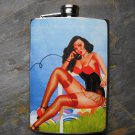 Stainless Steel Flask - 8oz., Pin Up Girl on Phone Sitting on Grass