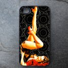 Pin Up Girl on Black Printed Background Decorated iPhone 4,5,6 or 6plus Case