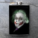 Stainless Steel Flask - 8oz., Joker Style Albert Einstein Print Background