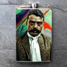 Stainless Steel Flask - 8oz., Emiliano Zapata on Colorful Background
