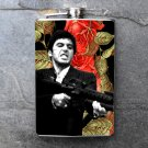 Stainless Steel Flask - 8oz., Al Pacino with Gun on Flower Print Background