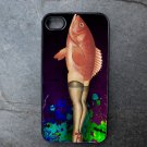 Pin Up Girl Legs with Fish Top on Blue Background Decorated iPhone 4,5,6 or 6plus Case