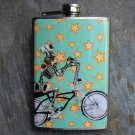 Stainless Steel Flask - 8oz., Day of the Dead Skeleton on Bike, Star Background