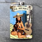 "Stainless Steel Flask - 8oz., Pin Up Girl ""El Musico"" Banner"