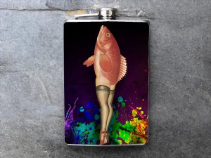 Stainless Steel Flask - 8oz., Pin Up Girl Legs with Fish Body Colorful Print Background