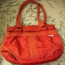 Retro Red and White Lined Print Vinyl Purse, Rope Handles