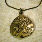 Brass Colored Love Bird Necklace, Double Sided