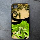 Green Octopus on Tan and Black Background Decorated iPhone4 or iPhone5 Case