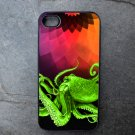 Green Octopus on Colorful Background Decorated iPhone 4,5,6 or 6plus Case