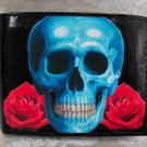 Hand Decorated Wallet, Skull with Red Rose Background Print