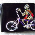 Hand Decorated Wallet, Day of the Dead Skeleton Riding Bike Print