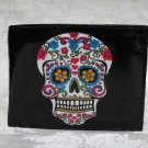 Hand Decorated Wallet, Day of the Dead Sugar Skull Print