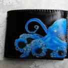 Hand Decorated Wallet, Blue Octopus Print
