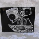 Hand Decorated Wallet, Skeleton with Boom Box Print