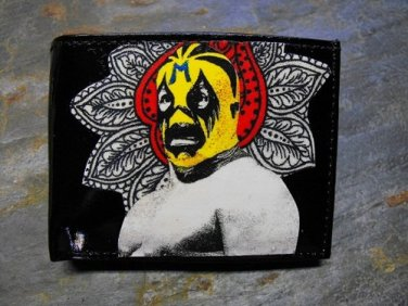 Hand Decorated Wallet, Lucha Libre with Design Background Print