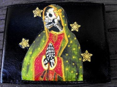 Hand Decorated Wallet, Day of the Dead Virgin Mary Print