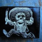 Hand Decorated Wallet, Day of the Dead Man in Black and White Print