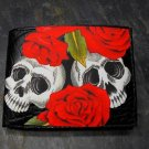 Hand Decorated Wallet, Set of Skulls with Roses Print