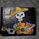 Hand Decorated Wallet, Day of the Dead Man with Guitar Print