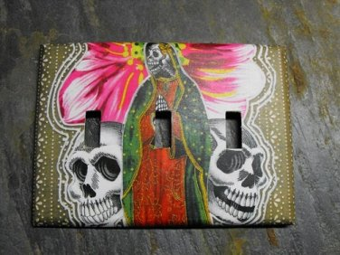 Triple Switch Plate Cover, Day of the Dead Virgin Mary with Flowers Image