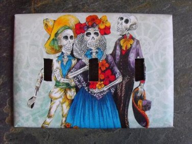 Triple Switch Plate Cover, Day of the Dead Group Image