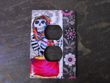 Wall Plug Plate Cover, Day of the Dead Women Skeleton Image