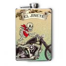 "Stainless Steel Flask - 8oz., Day of the Dead Guy on Motorcycle ""El Jinete"""