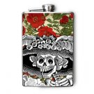Stainless Steel Flask - 8oz., Day of the Dead Catrina with Flower Background