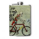 Stainless Steel Flask - 8oz., Day of the Dead Man on Bike