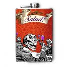 "Stainless Steel Flask - 8oz., Day of the Dead Skeleton Drinking ""Salud"" Banner"