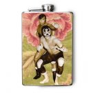 Stainless Steel Flask - 8oz., Luche Libre Fighters with Flower Background