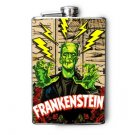 Stainless Steel Flask - 8oz., Frankenstein with Lightening Bolts