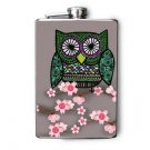 Stainless Steel Flask - 8oz., Owl on Gray Background with Flowers