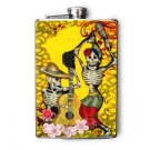 Stainless Steel Flask - 8oz., Day of the Dead Couple Dancing on Yellow Print Background