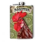 Stainless Steel Flask - 8oz., Rooster Print with Banner on Green Print Background