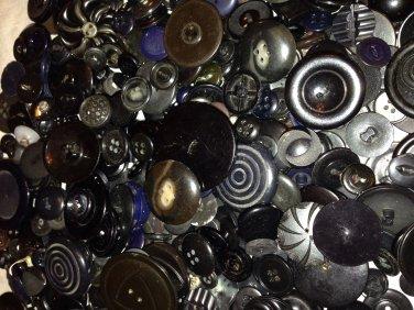 Giant Bag of Vintage Black Buttons
