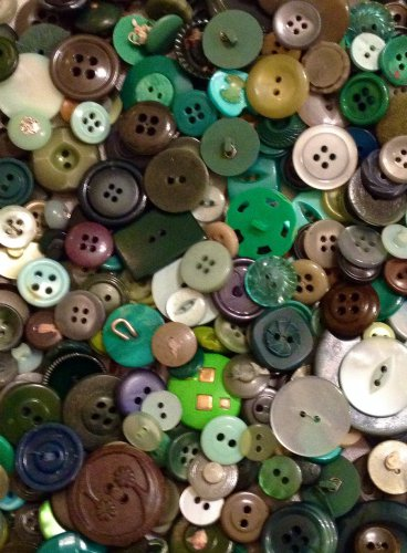 Mixed Bag of Vintage Green Buttons
