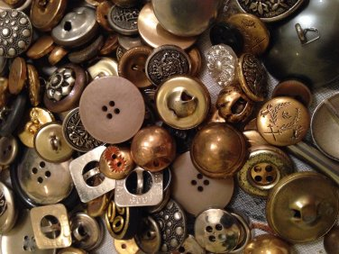 Mixed Bag of Vintage Silver and Metal Colored Buttons