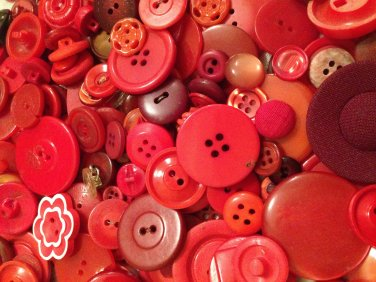 Mixed Bag of Vintage Red Colored Buttons
