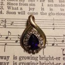 Gold Bezel with Purple and Clear Stones, Pendant