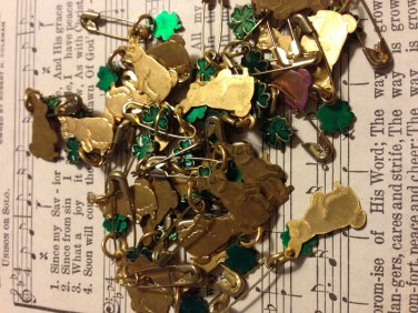 Set of 27 Gold Colored Rabbit and Green Clover Charm Pins