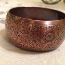 Engraved Flower Design Brass Thick Bracelet