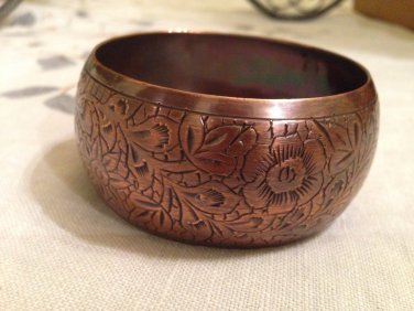 Engraved Flower Design Brass Thick Bracelet