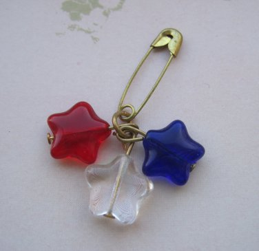 Set of 9 Red, Clear, and Blue Star Bead Pin
